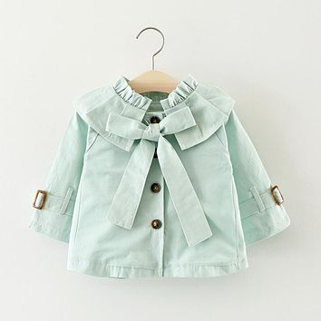 Autumn Baby Girls Solid Lapel Collar Princess Party Bow Jacket Coat Children Kids Outerwear Trench casaco infantil menina