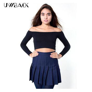 11 colors!2017 New American Apparel Pleated Skirt High Waist Ball Mini Skirt sexy Saias Femininas plus size Skirts Mujer TB313