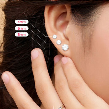 fashion jewelry accessories small 925 sterling silver imitated diamond earrings stud classic simple earring for women men