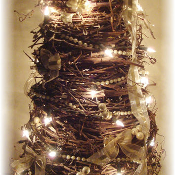 Grapevine Trees - Lighted Grape Vine Trees, Romantic Bedroom Decor, Home Accents, Country Home Decor, Decorative Living, Unique Home Accents