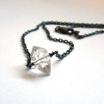 Herkimer diamond necklace, April birthstone necklace, oxidize silver Herkimer diamond jewelry, diamond solitaire choker, raw crystal jewelry