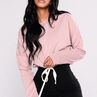 Frontline Crop Sweatshirt - Dusty Mauve