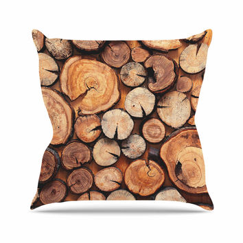 "Susan Sanders ""Rustic Wood Logs"" Brown Tan Outdoor Throw Pillow"