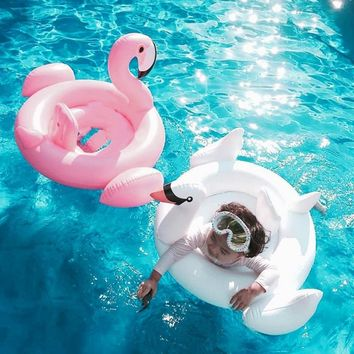 Summer Baby Inflatable Ring for Swimming Seat Float Inflatable Rose Gold Flamingo Pool Float White Swan Swimming Pool Toys