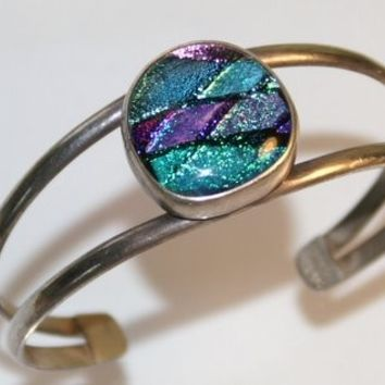 Vintage Mexican Dichroic Glass and Sterling Silver Cuff Bracelet / 80s Bracelet / Cuff Bracelet / Dichroic Glass Bracelet