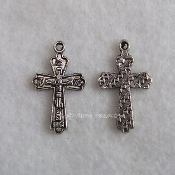 Lot of 2 Small Orthodox Crucifix Cross Silver Plated Antique Finish Pewter Metal Pendant Charm Medal