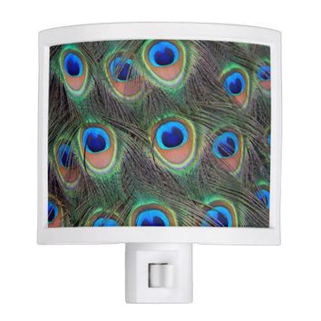 Peacock Feathers Photo Night Light
