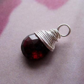 Garnet Sterling Silver Wire Wrapped Briolette Dangle, 1 pc, Gemstone Pendant, January Birthstone