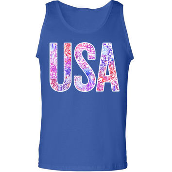 'USA' Floral Pattern Tank Top