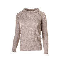 Free People Womens Marled Ribbed Knit Pullover Sweater