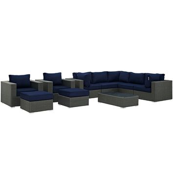 Sojourn 10 Piece Outdoor Patio Sunbrella Sectional Set, Canvas Navy
