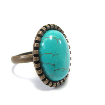 Turquoise Ring - Southwestern Jewelry - Native American Inspired Accessory - Antique Gold / Bronze Adjustable Setting - Small Turquoise Ring
