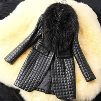 Women Winter Faux Leather Fur Coat Long Sleeve Jacket Outerwear VVF = 1930207108