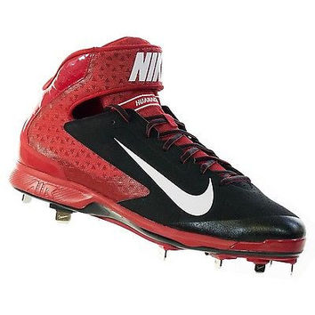 Nike Mens Huarache Pro Mid Metal Black/White/Varsity Red Baseball Cleat 13 Me...