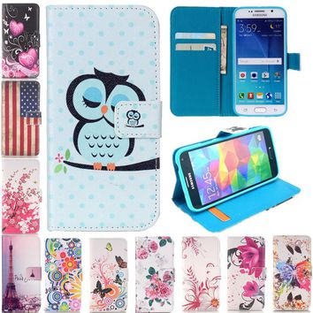 Flip Wallet PU Leather Case For Samsung Galaxy S3 S4 S5 S6 S7 Edge Cover Painted Stand Phone Cases Capa