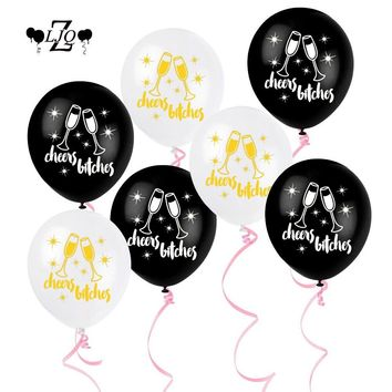 ZLJQ 10pcs Cheers Bitches 12 inch Latex Balloon for Wedding Bridal Shower Bachelorette hen night Party Decoration Supplies