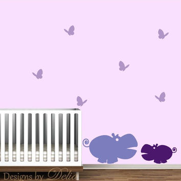 Nursery Jungle Animals Decal, Hippos and Butterflies Wall Decor