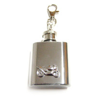 Motorcycle  1 oz. Stainless Steel Key Chain Flask.