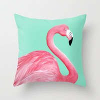 Pink Flamingo Throw Pillow by Lorri Leigh Art