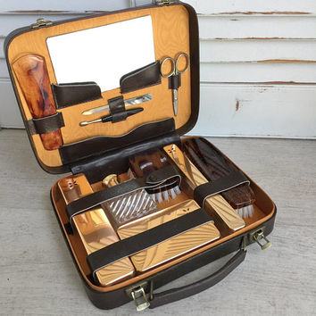 Men's Travel Grooming Kit, Dopp Kit, Leather Toiletry Set, Mid Century Gentlemans Grooming Set, Gift for Groom, Best Man Gift