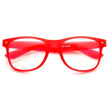 Neon Color Rubberized Soft Finish Clear Lens Horn Rimmed Glasses