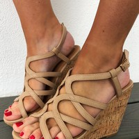 Tip Toe Through The Flowers Wedges: Tan