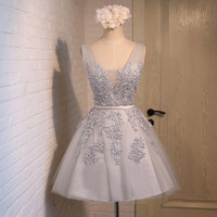 Short Lace Silver Prom Dresses Length pst0387