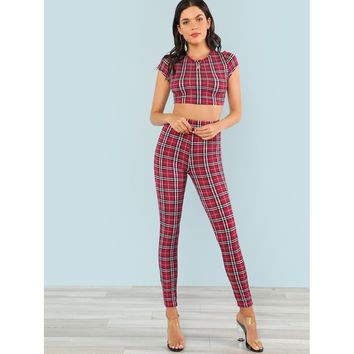 Red Plaid Print Crop Top and Pants Co-Ordinates