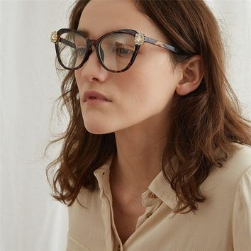 HUITUO European and American Retro Fashion Glasses Frame Transparent Eyeglasses for Women High Quality Optical Eye Spectacles
