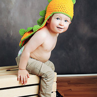 CCN35 Orange And Green Dinosaur Knit Hat - LAST CALL