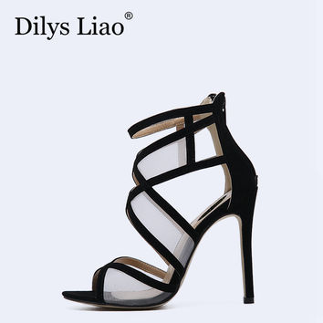 Dilys Liao Hot Sexy Black White Mesh Cross Patchwork Party Dress Open Toe Stiletto High Heels Sandals Woman Shoes Back Zipper