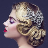 Rhinestone Crystal Leaves Bridal Hair Comb