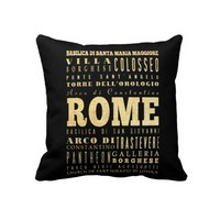 Rome City of Italy Typography Art Throw Pillow
