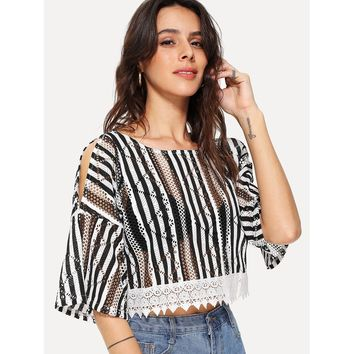 Black And White Open Shoulder Striped Lace Crop Top