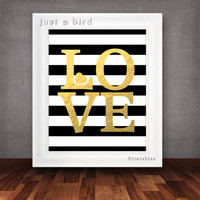 Modern valentine printable, Black & white stripes printable, gold stripe print -gold nursery decor - Faux Gold Foil - INSTANT DOWNLOAD
