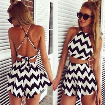 Summer Fashion Sexy Black Stripe Halter Crop Top and Shorts Set