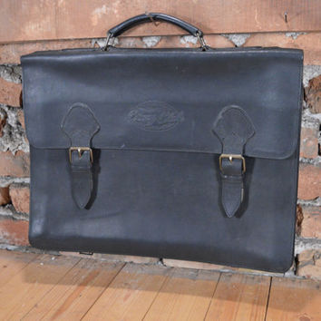 RARE Vintage Briefcase / leather lawyer bag / corny club bag / 1970s  black Bag / Doctors Bag / Travel Bag / lawyer bag / Coach briefcase