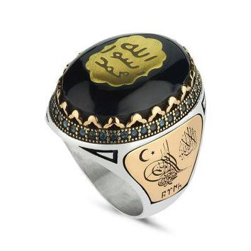 Amber gemstone with seal of prophet muhammed sterling silver mens ring