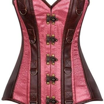 Daisy Corsets Top Drawer Faux Leather & Brocade Steel Boned Corset