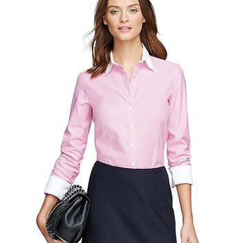 Women's Non-Iron Tailored Fit Houndstooth Dress Shirt