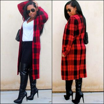 Classic Red Plaid Wool Coat Manteau Femme New Arrival Winter Coat Ladies O neck Long Cashmere Coat Plus Size Women Coats