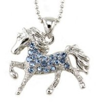 My Associates Store - Light Sky Blue Horse Pony Mustang Animal Pendant Necklace Western Charm High Polish Silver Tone Ladies Teens Girls Women Fashion Jewelry