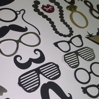 "Wedding ""photobooth props"", Mr and Mrs 39 pc set black and gold and silver for weddings, receptions or special occasions."