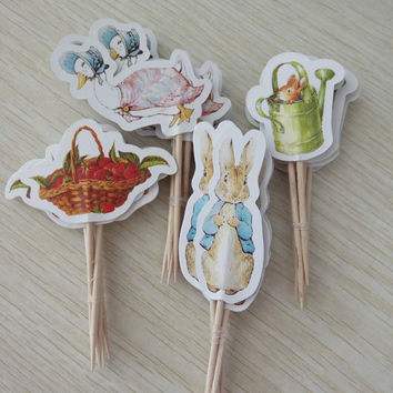 Easter Theme Cartoon Cupcake Toppers