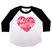 Mom's #MCM Three Quarter Sleeve American Apparel Raglan Kids T Shirt Boys or Girls Funny Shirt Baby Toddler Baseball Tee Man Crush MCM 132