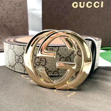 GUCCI Men's Classic Double G Vintage Embossed Smooth Buckle Belt