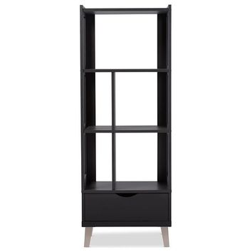 Baxton Studio Kalien Modern and Contemporary Dark Brown Wood Leaning Bookcase with Display Shelves and One Drawer Set of 1