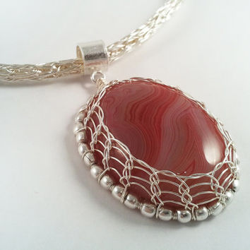 Wire Wrapped Pendant - Pink Agate Pendant - Viking Knit Chain - Wire Wrapped Jewellery Handmade - Etsy UK - Wire Jewellery