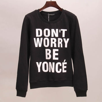 Sakura hoodies sweatshirt women DON'T WORRY BE YONCE printed tracksuits tracksuit sport suit set tees women woman tops 2015