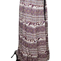 Mogul Interior Shaheen Womens Long Maxi Skirt Purple Floral Printed A-Line Flared Flirty Vintage Skirts